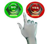 Ja en geen knoppen set — Stockfoto