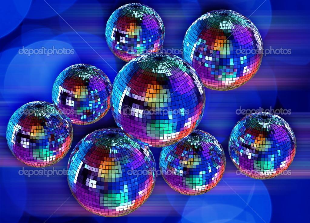 Colores de fondo funky con bolas de discoteca espejo - Bola de discoteca de colores ...