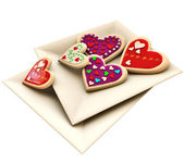 Allsorts heart-shaped cookies for Valentine's Day — Stock Photo
