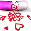 3d love pill with red hearts for Valentine's Day — Stock Photo