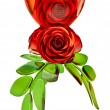 Red roses and glass heart for Valentine's Day - Stock Photo