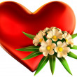 White flowers bouquet with big red heart — Stock Photo