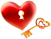 Metalic red heart with keyhole as symbol of love — Stock Photo