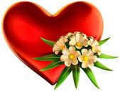 букет белых цветов с большим красным сердцем — Стоковое фото