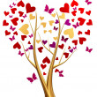 Golden tree with hearts and butterflies — Stock Photo