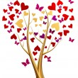 Golden tree with hearts and butterflies - Stock Photo