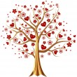 Golden tree with hearts and flowers — Stock Photo