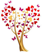 Golden tree with hearts and butterflies — Stockfoto