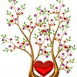 Golden tree with hearts and flowers - Foto de Stock