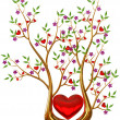 Golden tree with hearts and flowers - Stock Photo