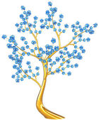 Golden tree with blue flowers — Stock Photo