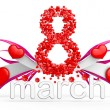 Digit eight consisting of red hearts for March 8 - Stock Photo