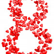 Stock Photo: Digit eight consisting of red hearts for March 8