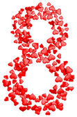 Digit eight consisting of red hearts for March 8 — Stockfoto