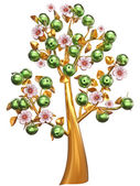 Golden tree with green apples and white flowers — Stock Photo
