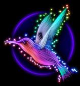 3d render of colibri bird - hummingbird with stars — Stock Photo