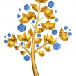 Golden tree with blue flowers - 图库照片