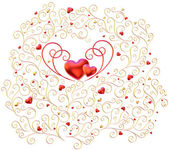 Golden curls branches with hearts — Stock Photo