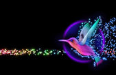 3d render of colibri bird - hummingbird with stars — Zdjęcie stockowe