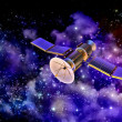 Stock Photo: 3D model of artificial satellite of Earth
