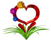 Heart with flowers and leaves — Stock Photo