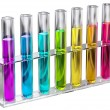 Colored transparent solution in test tubes — Stock Photo