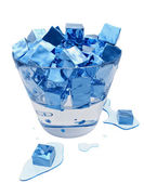 Stylized melting ice cubes in the glass bucket — Stock Photo