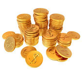 Stacks of gold dollar coins — Stock Photo