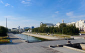 Historical square from the dam on Iset river in the center of Y — Stock Photo