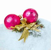 Snow and bauble — Stock Photo