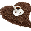 Coffe cup on heart shape — Stock Photo #33281321
