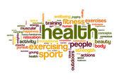 Zdraví sport slovo mrak — Stock fotografie