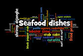 Seafood dishes word cloud  — Stock Photo
