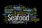 Seafood word cloud — Stock Photo