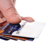 Hand holding credit cards — Stock Photo