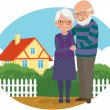 Stock Vector: Elderly couple at their home
