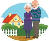 Elderly couple at their home — Stockvektor