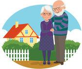 Pareja de ancianos en su casa — Vector de stock