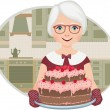 Grandmother baked a cake - Stock Vector