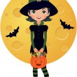 Stock Vector: Little witch