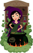 Witch cooks potion — Stock Vector