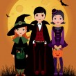 Stock Vector: Children in costume Halloween