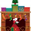 Stock Vector: Christmas fireplace