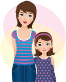 Mom and daughter — Stock Vector