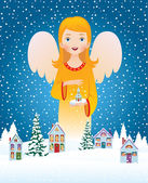 Blessing of Christmas angel — Stock Vector
