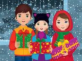 Children enjoyed a Christmas — Stock Vector
