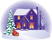 Haus im winter weihnachtsnacht — Stockvektor