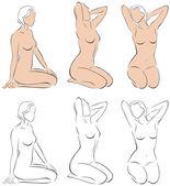 Stylized figures of nude women 2 — Stock Vector
