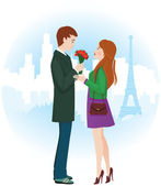 Lovers in Paris — Stock Vector