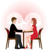 Loving couple on a date in the cafe — Stock Vector